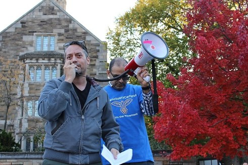 Soto advocates for Yale University to become a sanctuary campus at a protest last year. Paul Bass for the New Haven Independent.